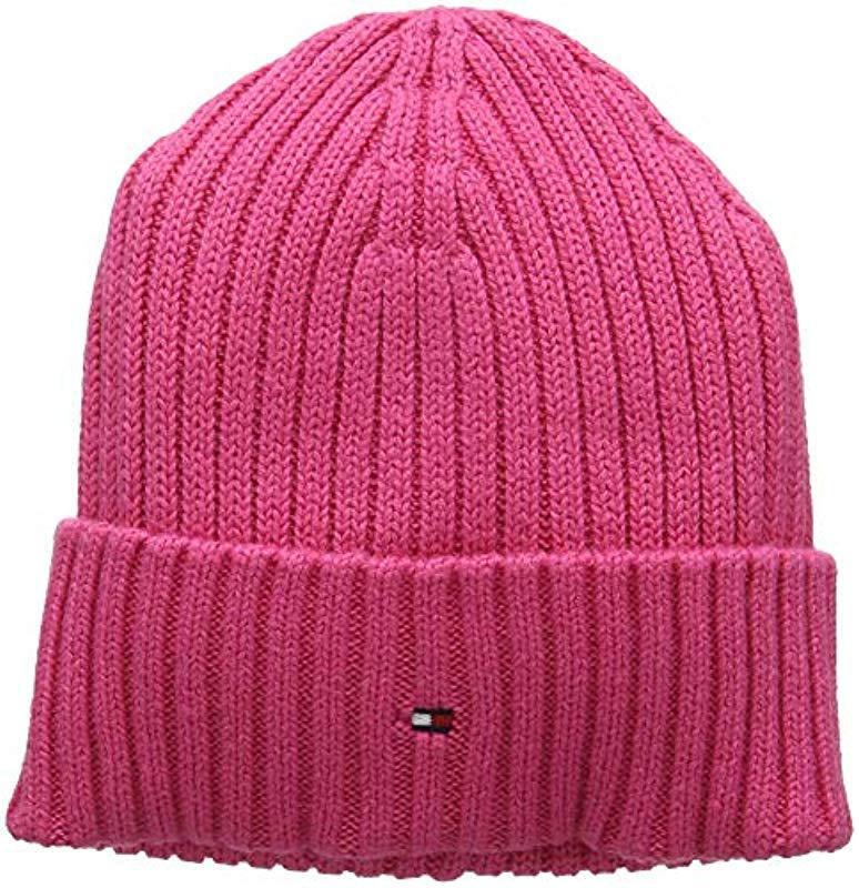 Tommy Hilfiger Pima Cotton Cashmere Beanie in Pink - Lyst 0b7384289195