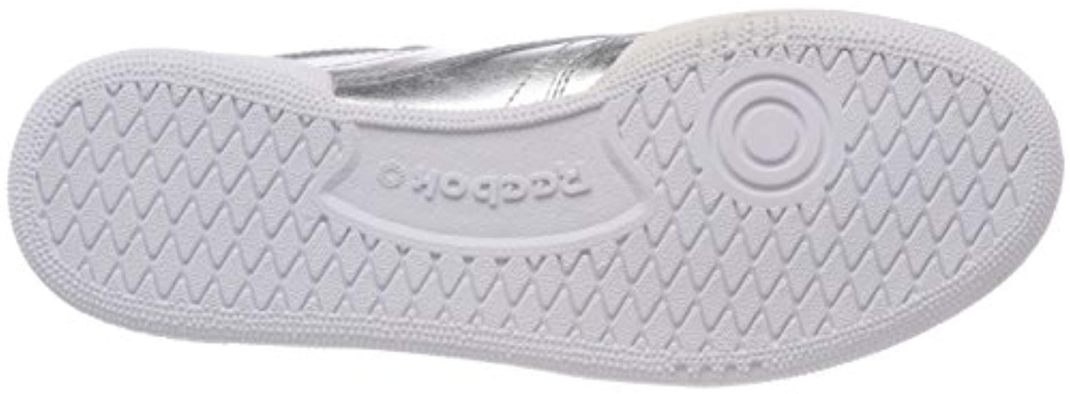 Reebok Leather Club C 85 S Shine Tennis Shoes in Silver (Metallic)