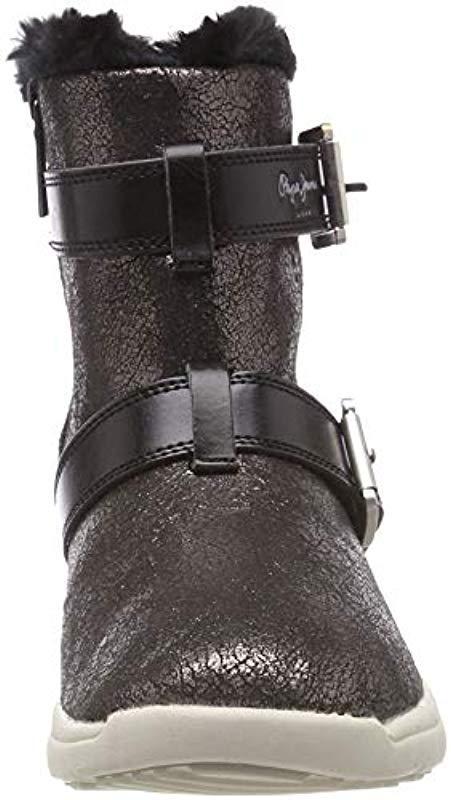 London Hyke W Snow, Botas de Nieve para Mujer Pepe Jeans de Denim de color Negro