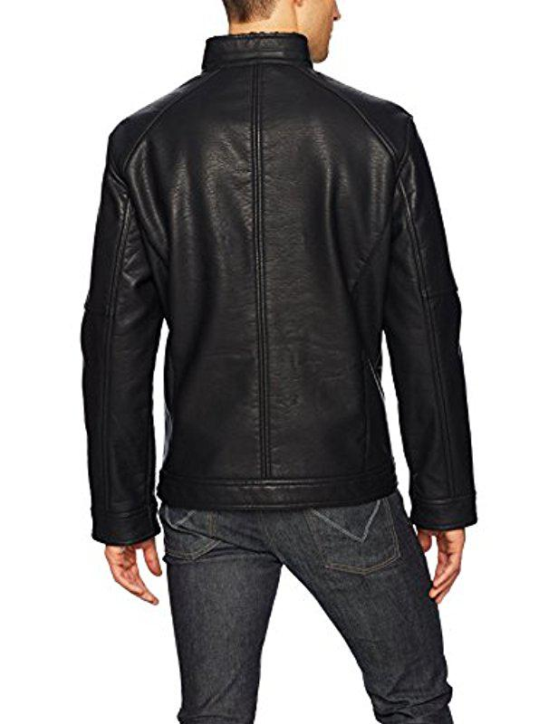 Nautica Mens Faux Leather Bonded Sherpa Jacket