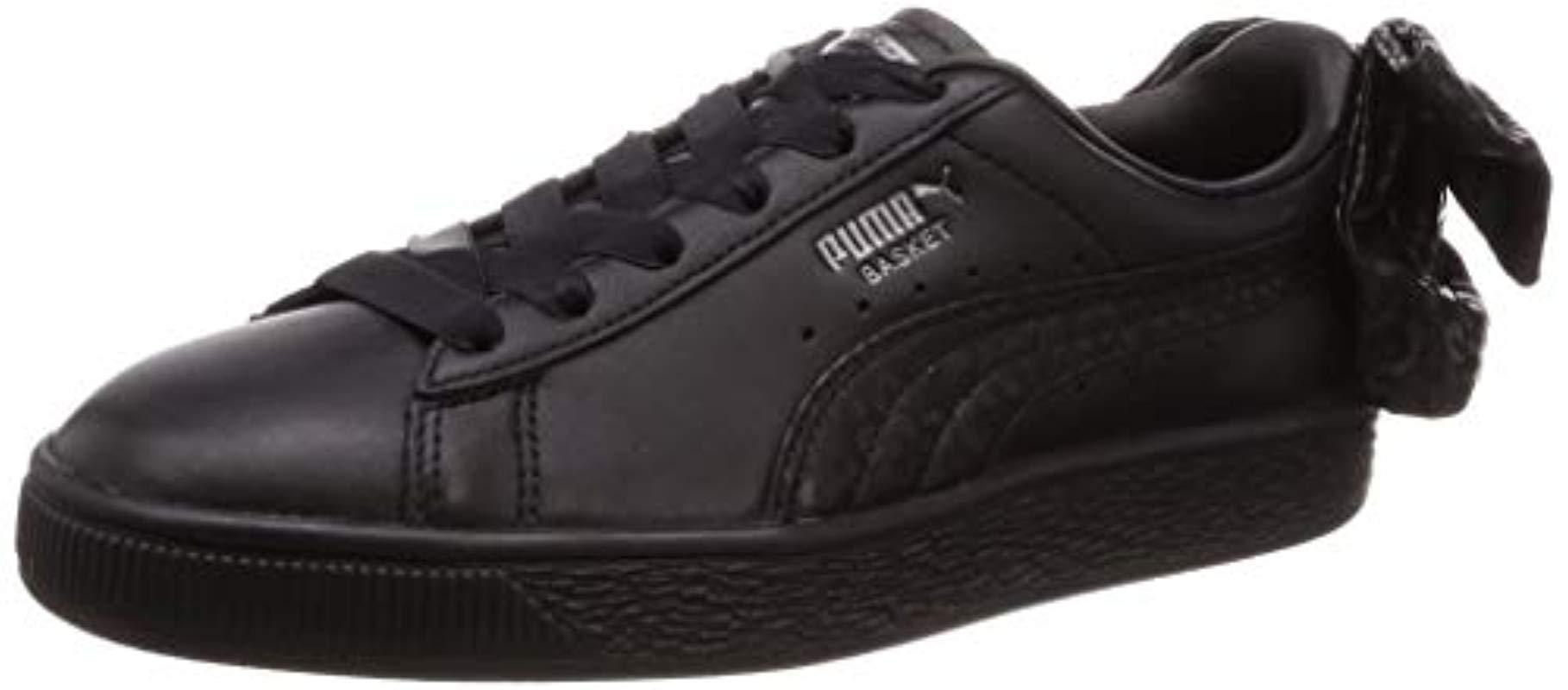 PUMA Leather Basket Bow Trainers Black