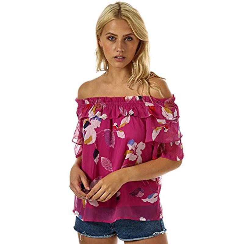 4164cf7aaf96e Vero Moda. Women s Pink Frida Floral Print Off Shoulder Top