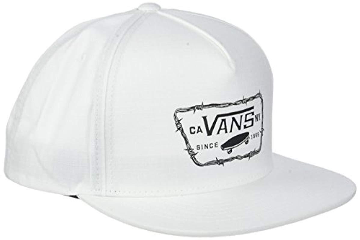 Vans Full Patch Barbed Snapback Baseball Cap in White for Men - Lyst 1857b23da4b
