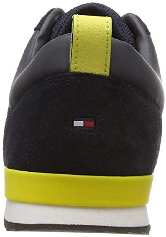 102cc1deab773 Tommy Hilfiger - Blue Iconic Material Mix Runner Trainers for Men - Lyst.  View fullscreen