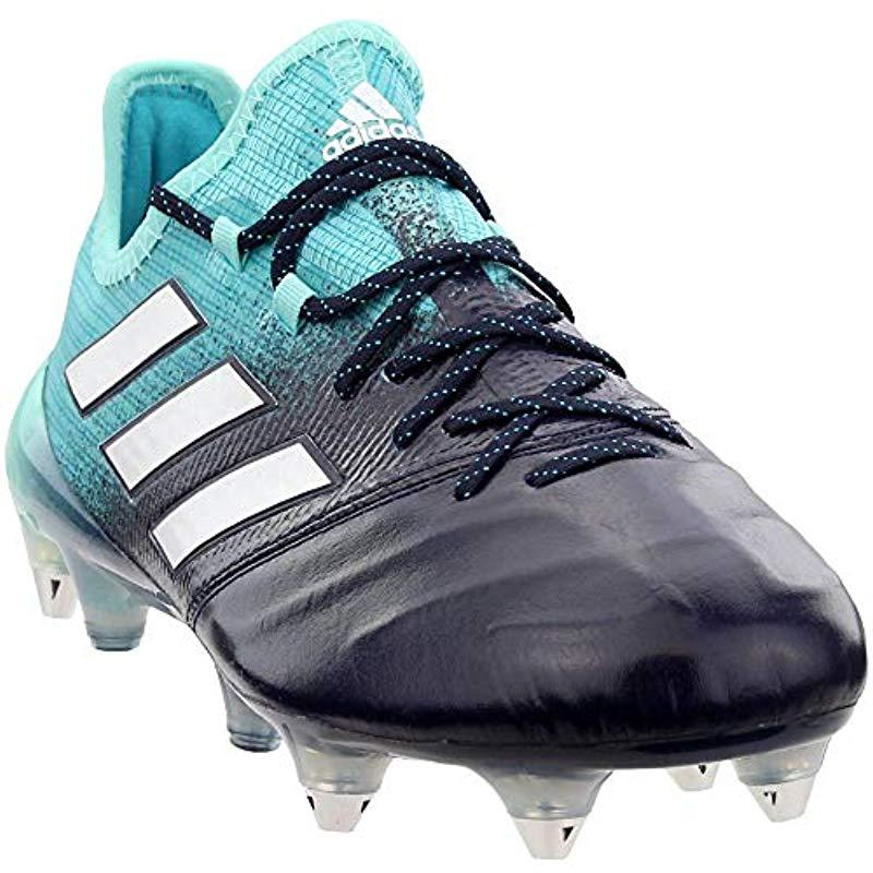 cb317f58 Men's Blue S Ace 17.1 Soft Ground Leather Soccer Athletic Cleats