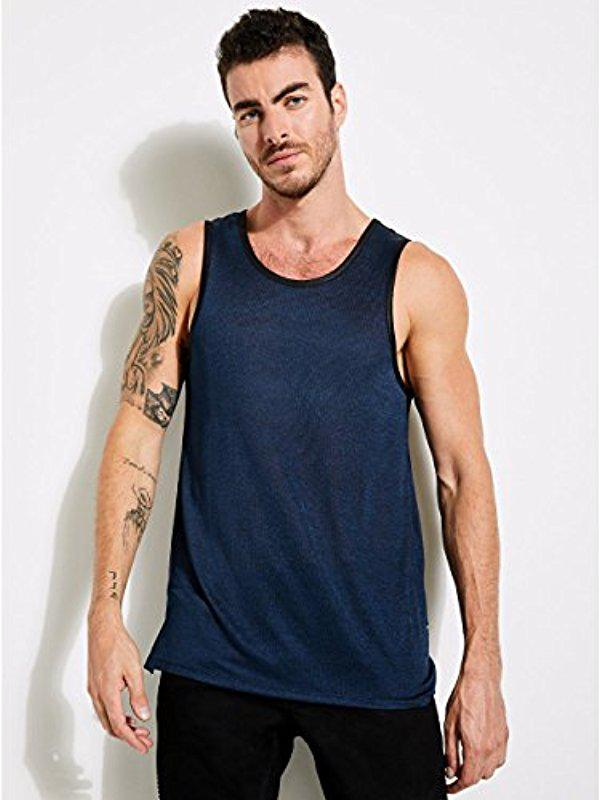 12ab647f3f73f Lyst - Guess Sleeveless Shiny Long Line Step Hem Tank in Blue for Men