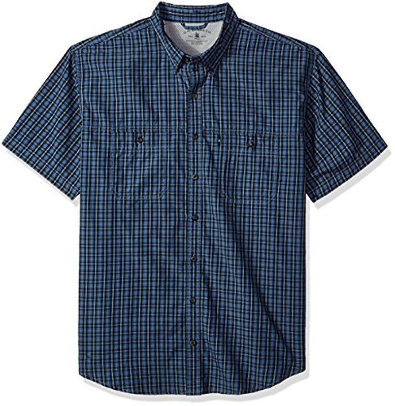 G.H Mens Big and Tall Explorer Short Sleeve Button Down Fishing Shirt Solid Flap Pocket Bass /& Co