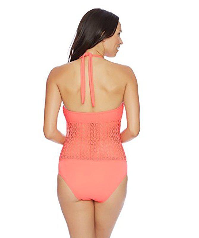 e86915f1b5 Lyst - Nautica Vineyard Crochet High Neck One Piece in Pink