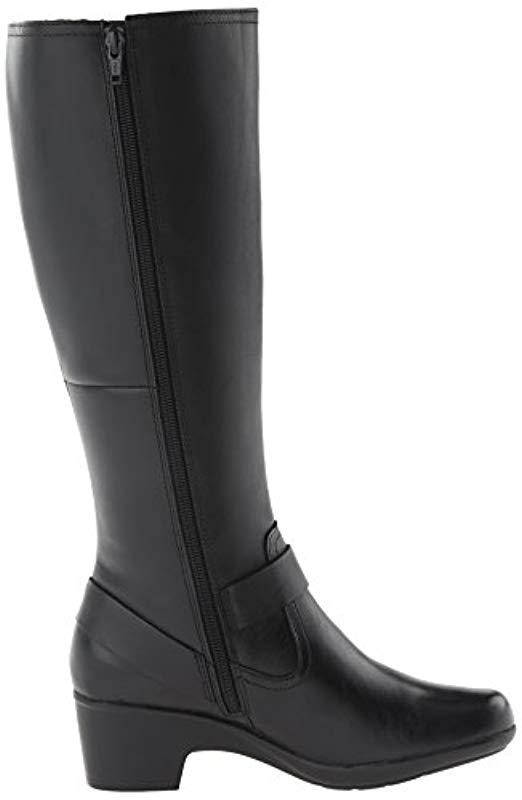 Clarks Leather Malia Willo Riding Boot in Black Leather (Black)