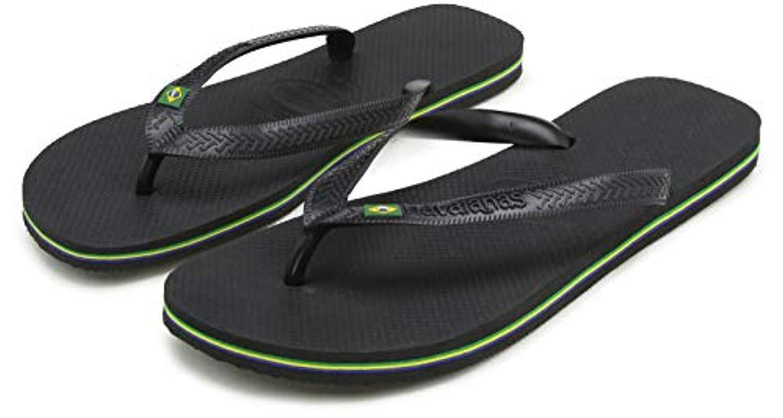 3c3b01cb097d62 Lyst - Havaianas Unisex Adults' Brasil Flip Flops in Black for Men