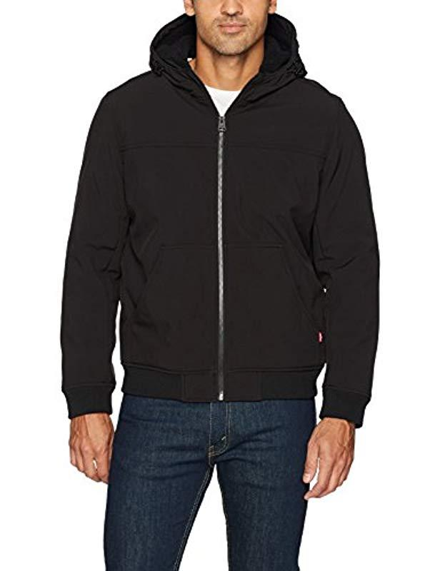 Levi's Soft Shell Sherpa Lined Hooded Bomber Jacket, Black, Large for Men