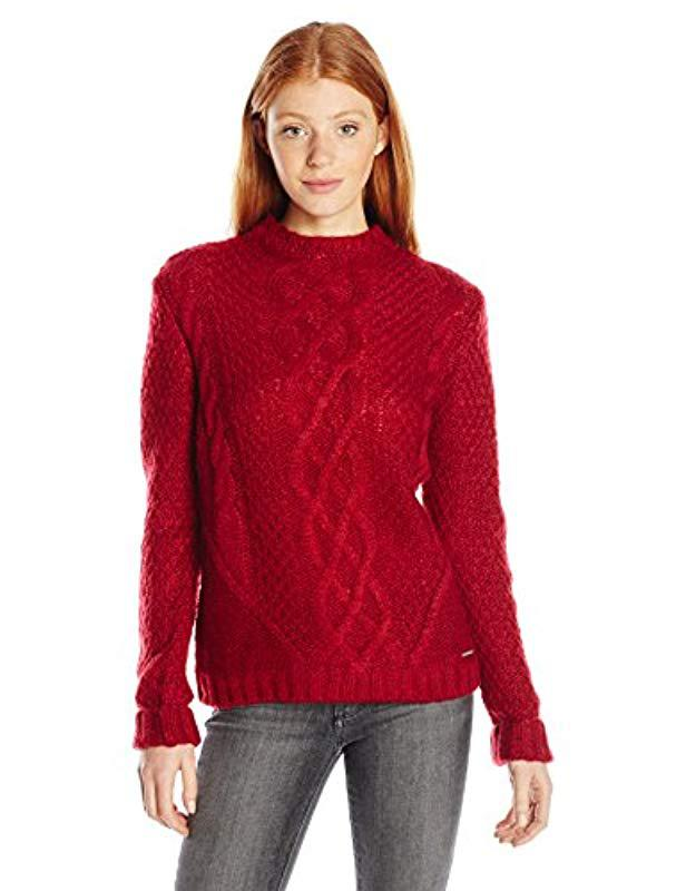 Lyst Us Polo Assn Juniors Funnel Neck Cable Knit Sweater In Red