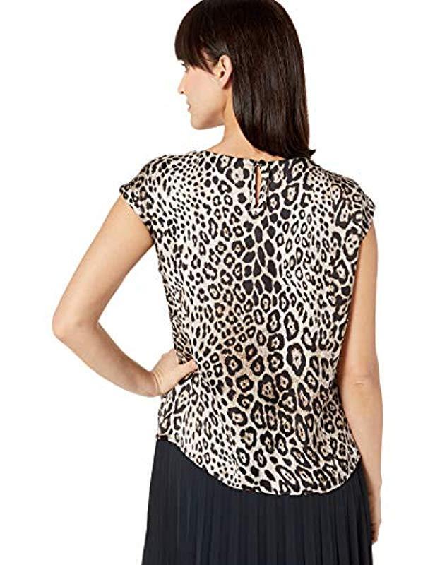 Kasper Womens Cap Sleeve Jewel Neck Animal Print Blouse W//Keyhole