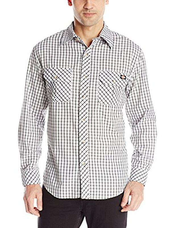 Dickies Mens Long-Sleeve Plaid Shirt with Inverted Pockets