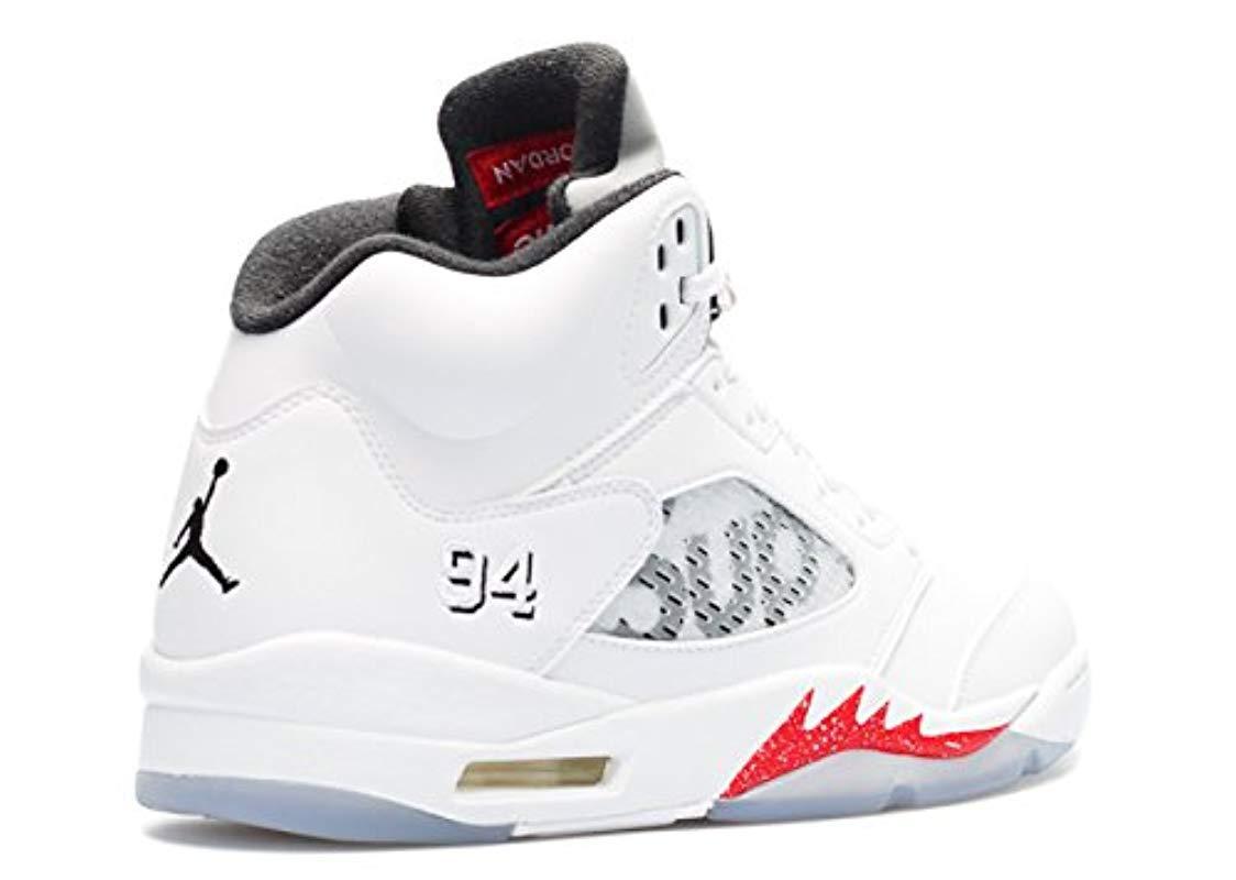 Air Jordan 5 Retro Supreme, Chaussures de Sport Nike pour homme en coloris Blanc