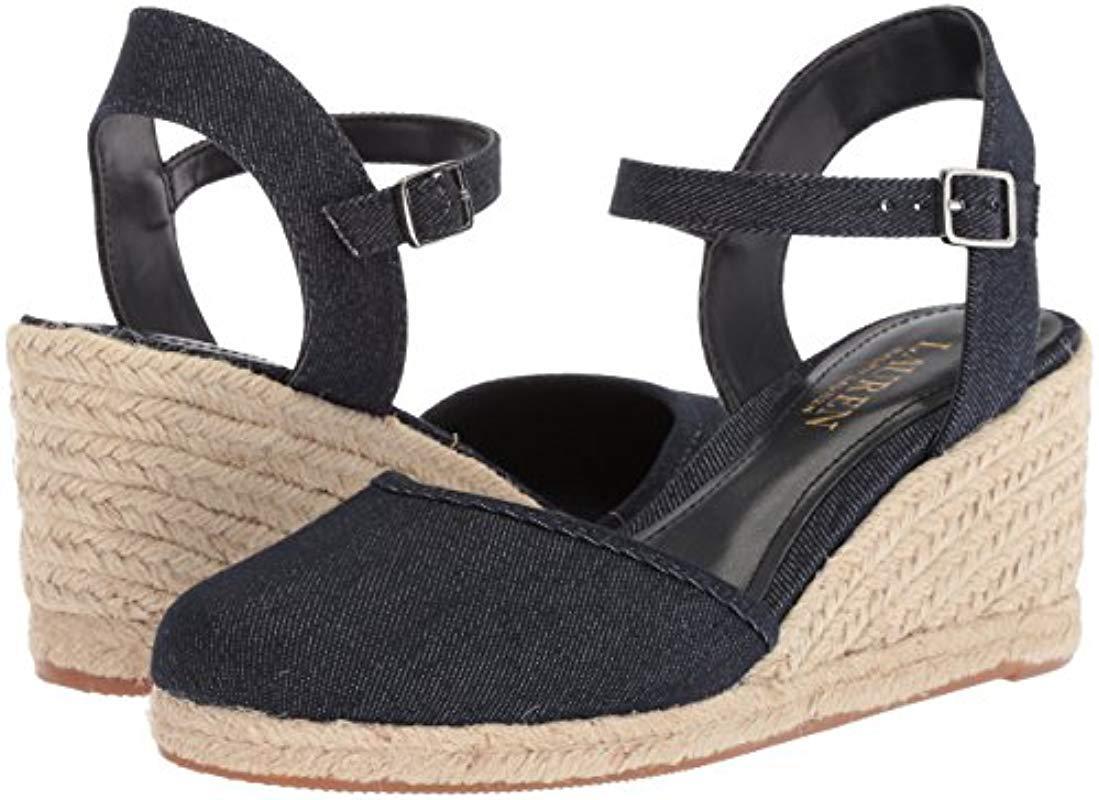 Lyst - Ralph Lauren Lois Espadrille Leather Wedge Sandals
