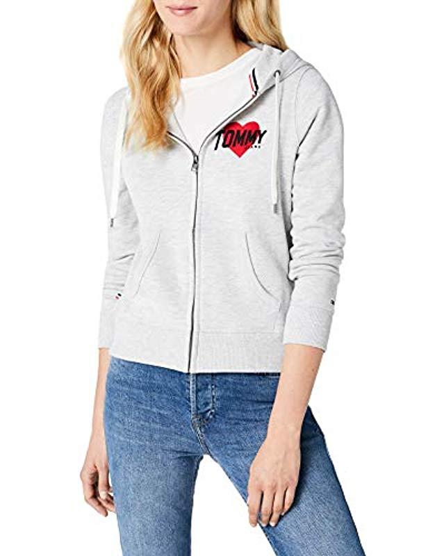 ddca8a44a Tommy Hilfiger Logo Zip Hoodie Short Sleeve Sweatshirt in Gray - Lyst