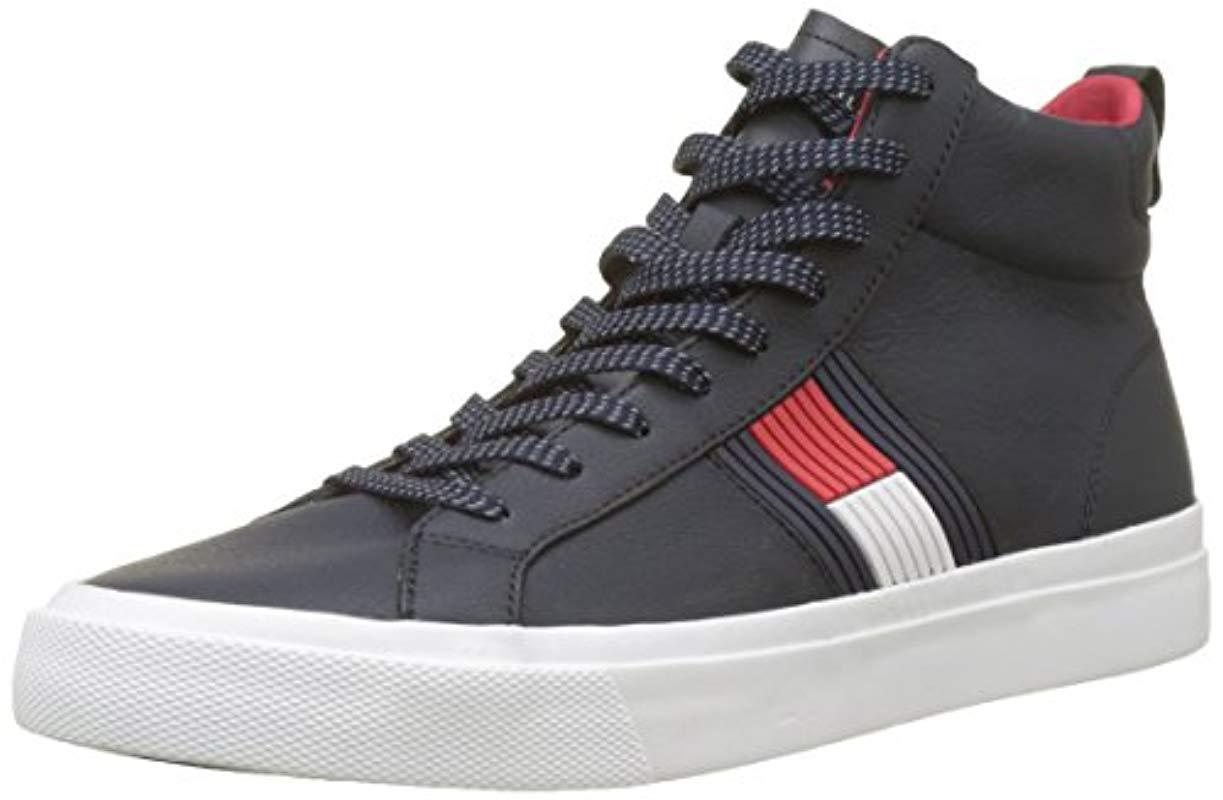 62b41430a Tommy Hilfiger Flag Detail High Leather Sneaker Hi-top Trainers in ...