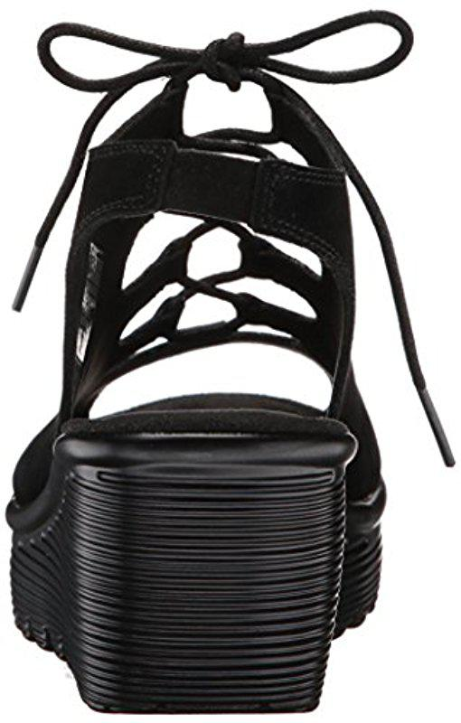 b6f85cd543a8 Skechers - Black Parallel Peep Toe Ghillie Slingback Wedge Sandal - Lyst.  View fullscreen