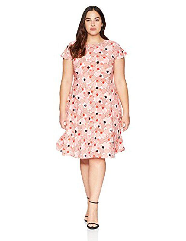 Lyst Anne Klein Plus Size Printed Short Sleeve Knit Dress In Pink