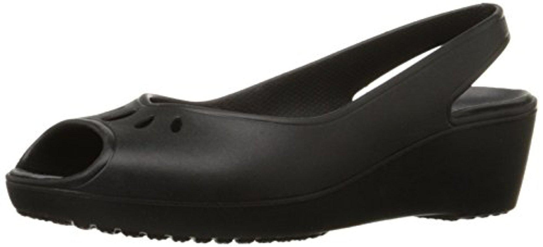 a4bba9025d61a Lyst - Crocs™ Mabyn Slingback Mini Wedge in Black