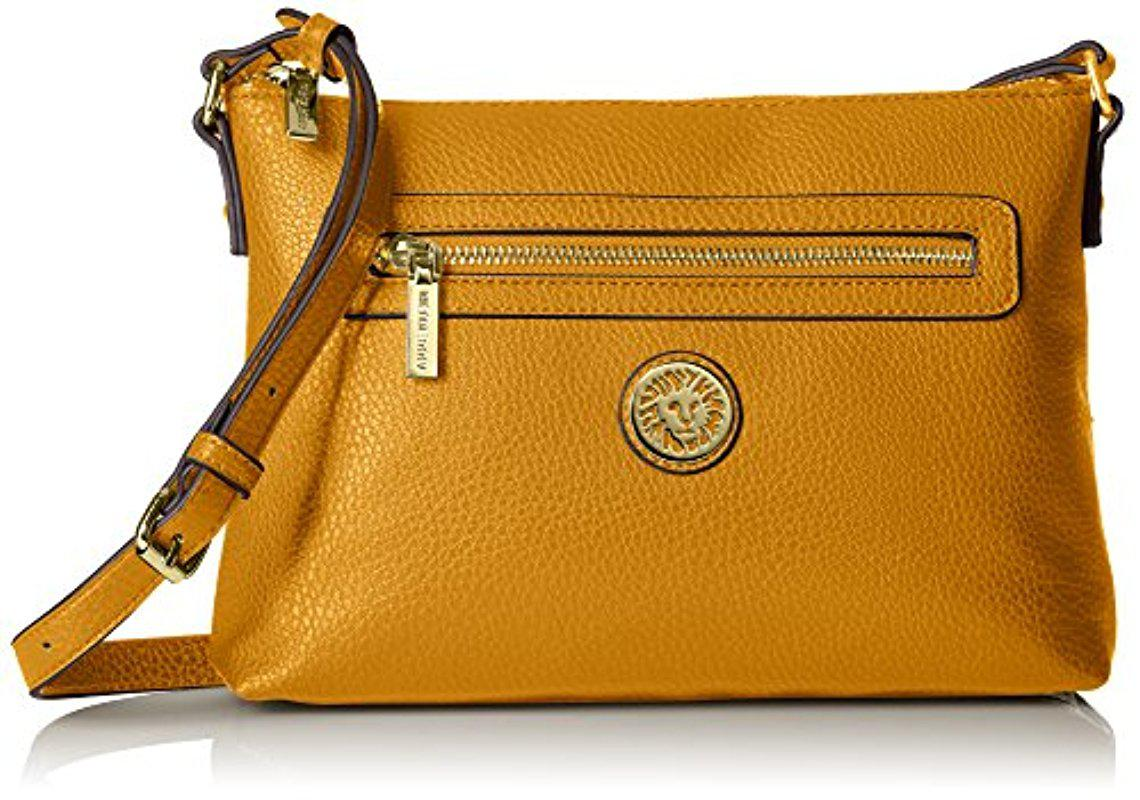Lyst - Anne Klein All In Top Zip Crossbody in Yellow 14a267acd3bc0