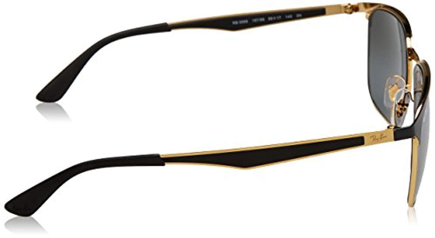 02148d975f5 Ray-Ban Metal Half Rim Square Sunglasses In Gold Black Silver Mirror ...