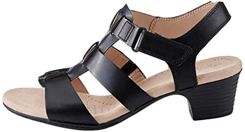 Clarks Amali Jewel Black Leather Open Toe Ankle Strap Stiletto Sandal UK 5.5