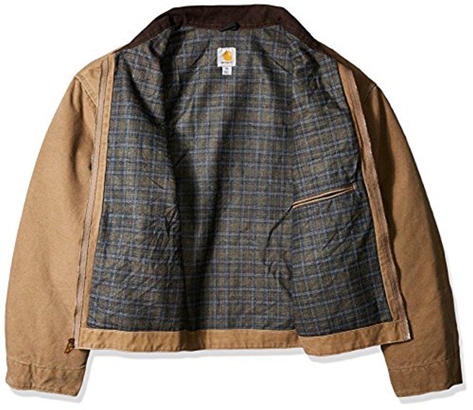 1e1e55969 Carhartt Brown Big & Tall Blanket Lined Sandstone Detroit Jacket J97 for men