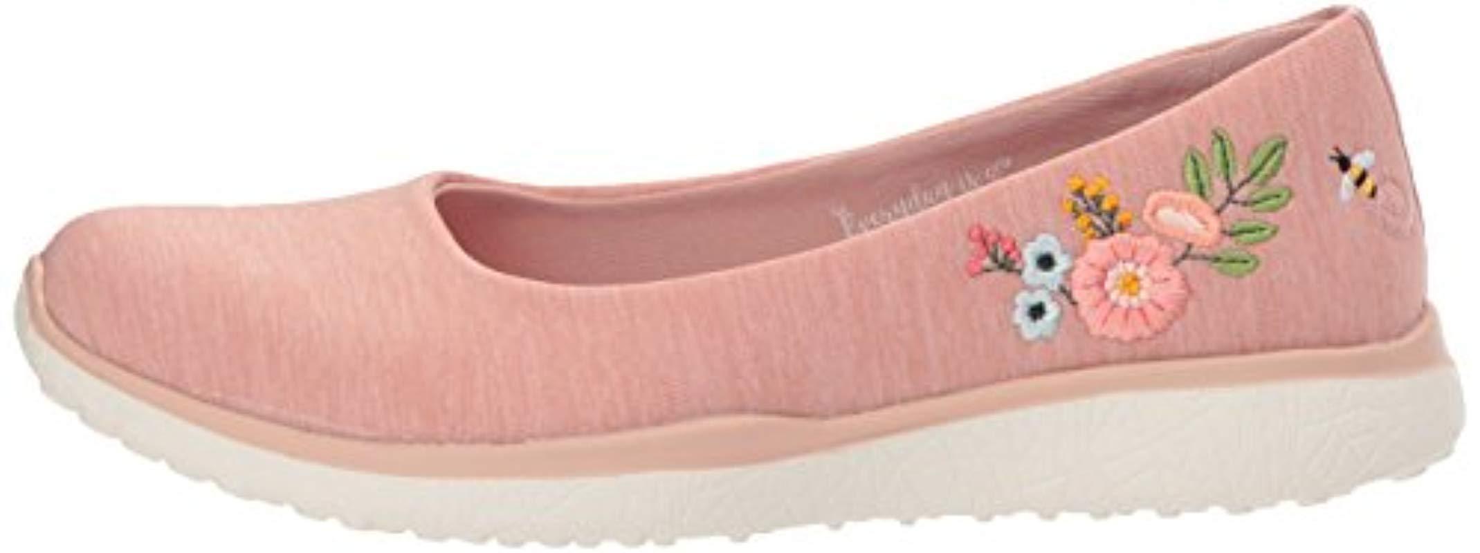 Microburst-Botanical Paradise, Bailarinas con Punta Cerrada para Mujer Skechers de Caucho de color Rosa