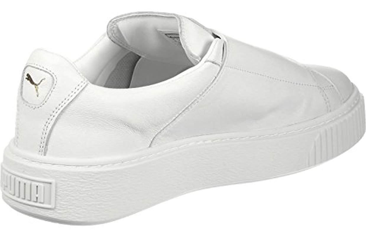 puma basket platform strap white