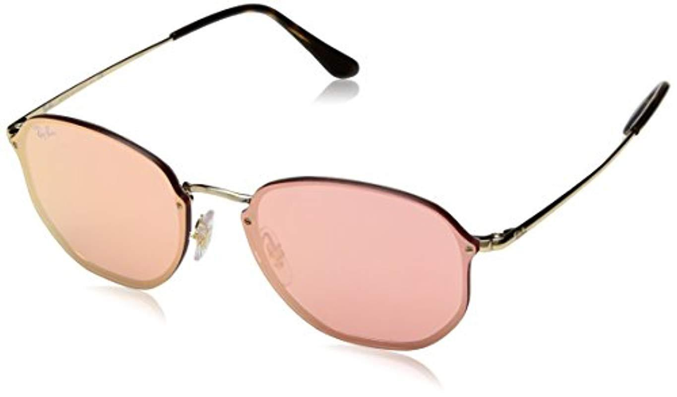 f45aed1be2 Ray-Ban Blaze Hexagonal Sunglasses In Gold Pink Mirror Rb3579n 001 ...