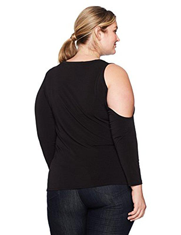 99aa6955f7f515 Lyst - RACHEL Rachel Roy Plus Size One Cold Shoulder Top in Black