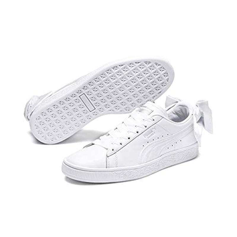 PUMA Leather Basket Bow Trainers White