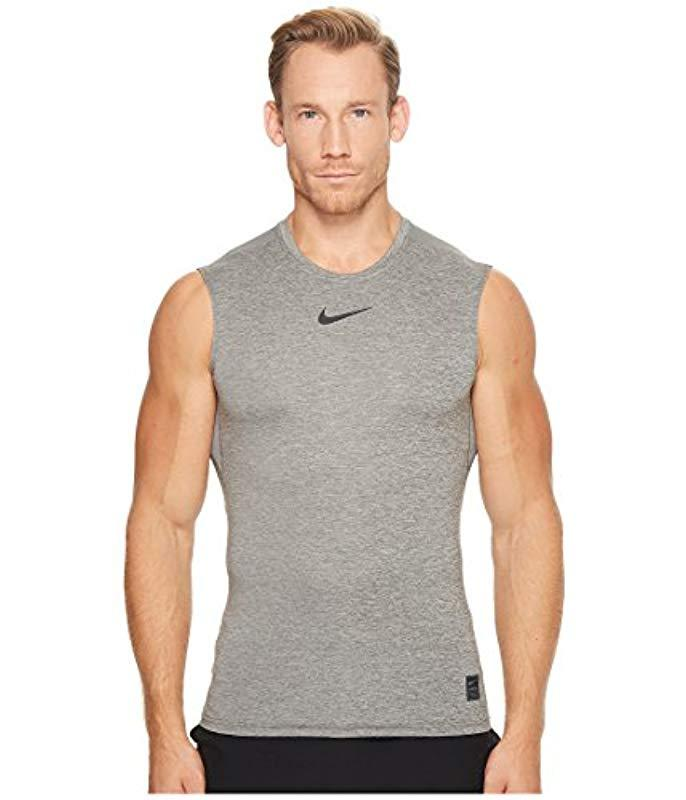 Nike Synthetic Pro Sleeveless Fitted Top in Carbon Heather (Grey) for Men