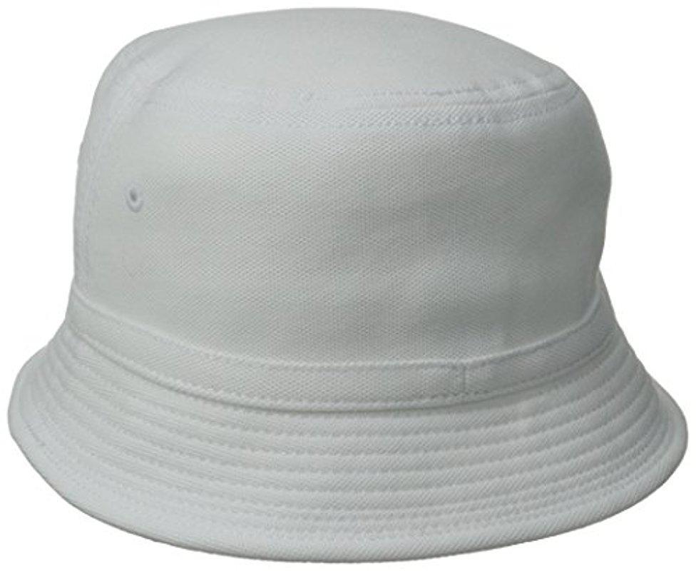 3e822a94c284 Lacoste Cotton Pique Bucket Hat in White for Men - Lyst