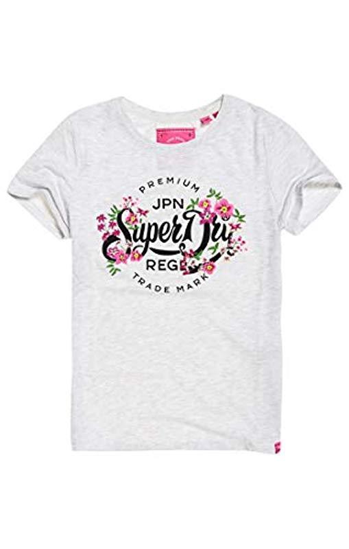 Superdry Premium Script Floral Entry tee Camiseta para Mujer