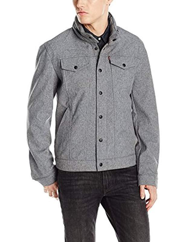 Levi's Fleece Soft Shell Stand Collar Commuter Trucker Jacket in Light Heather g (Grey) for Men