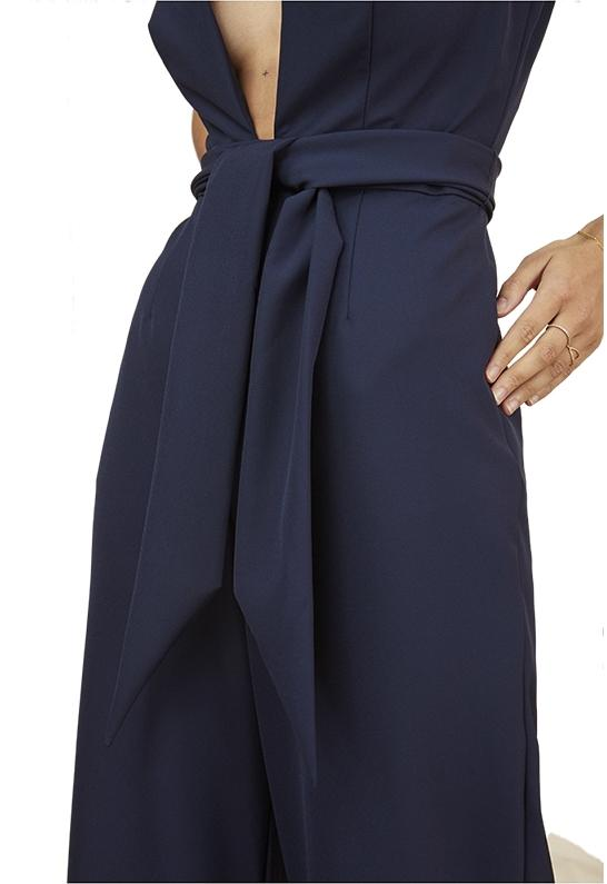 Finders Keepers Womens Essie Navy Plunging V-Neck Wide Leg Jumpsuit S BHFO 9194