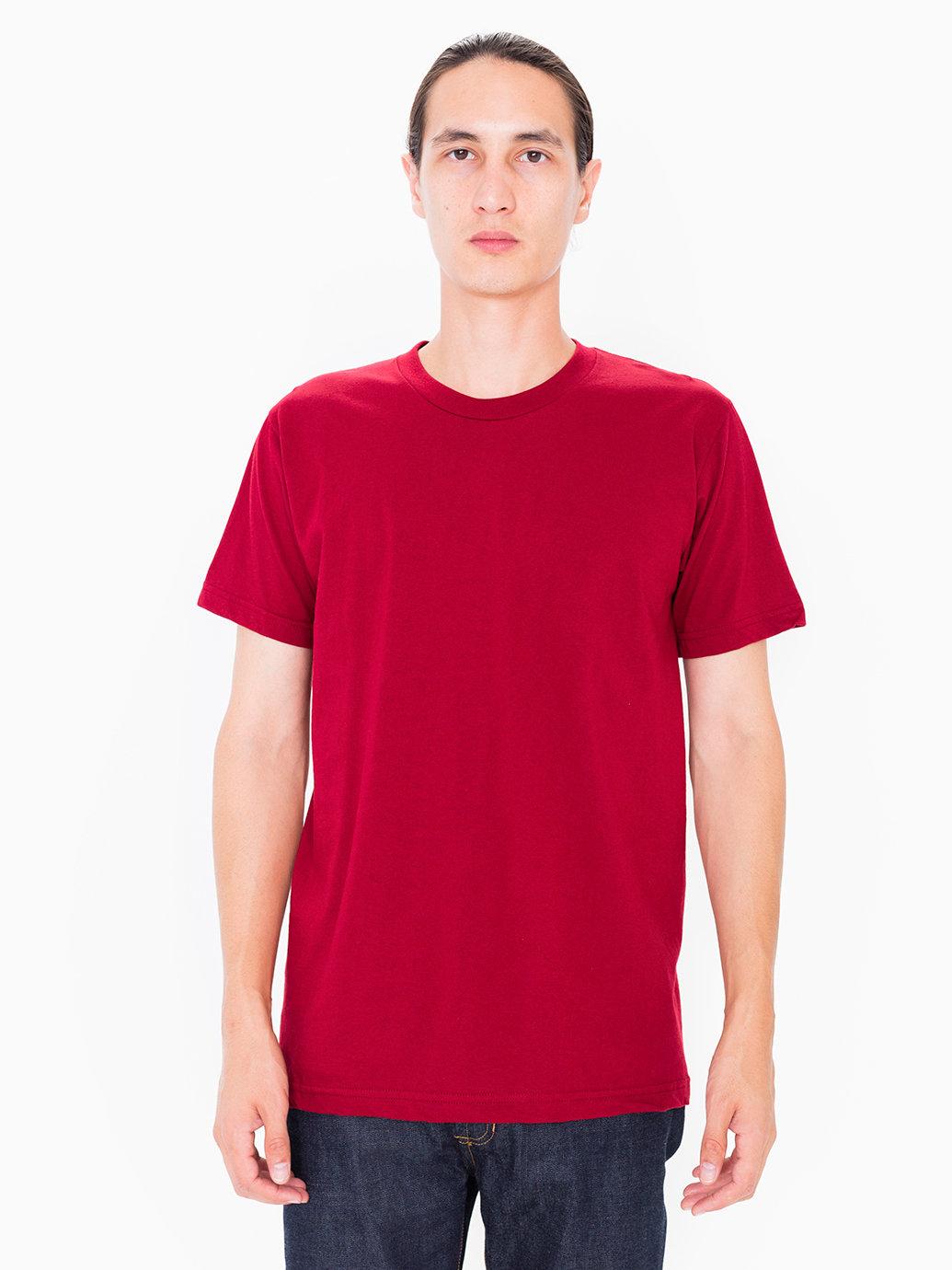 American apparel fine jersey crewneck t shirt in red for for American apparel fine jersey crewneck t shirt