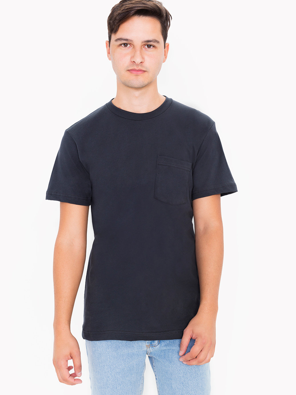 American Apparel Fine Jersey Crewneck Pocket T Shirt In