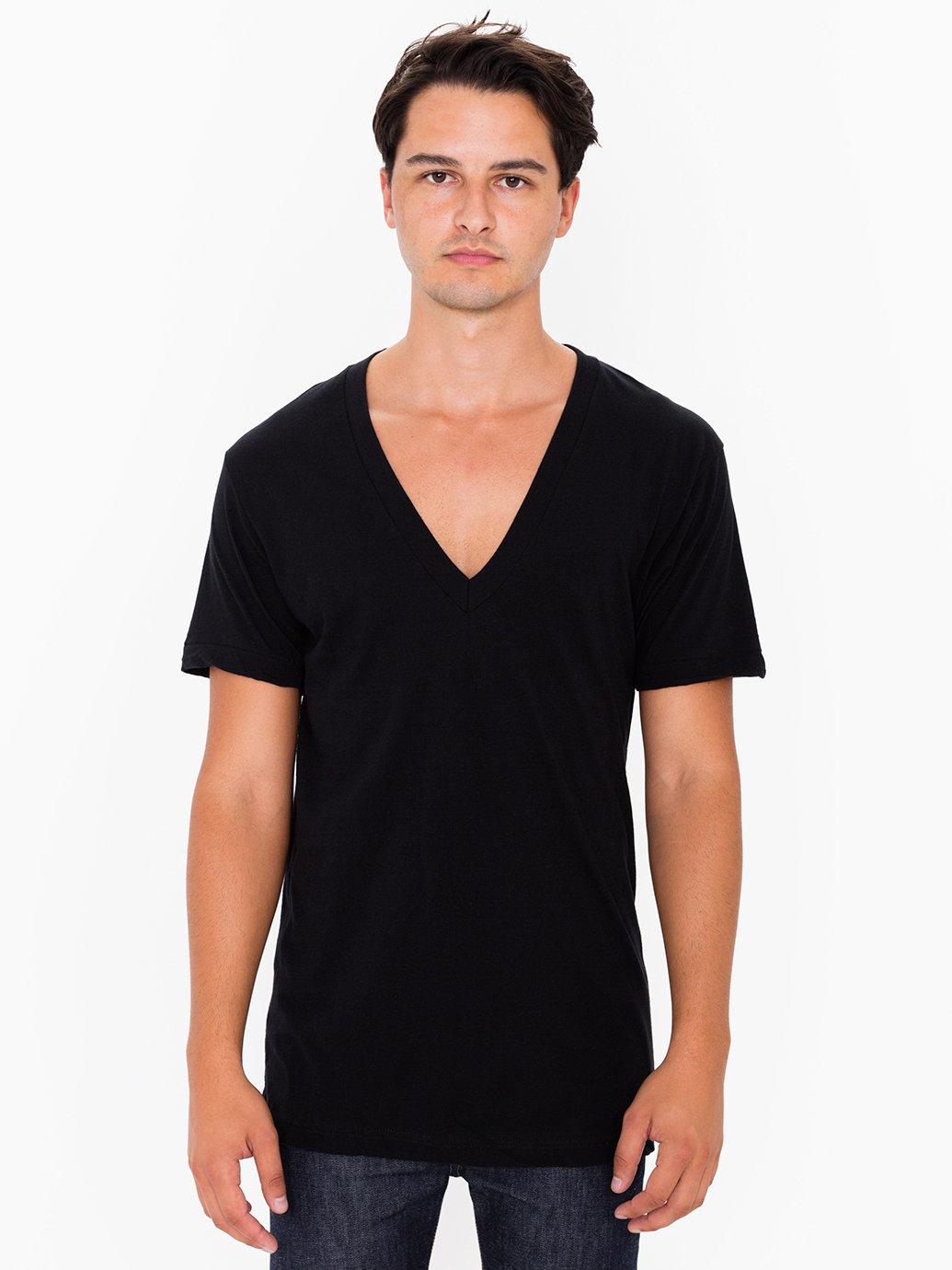 American Apparel Sheer Jersey Deep V Neck T Shirt In Black