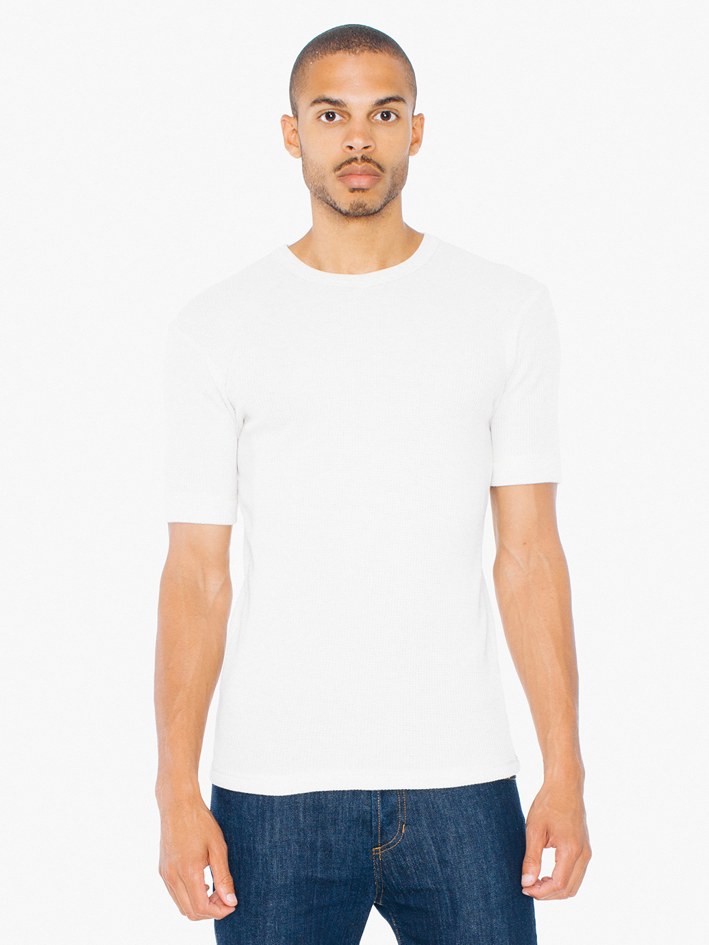 American Apparel Waffle Thermal Truck T Shirt In White For