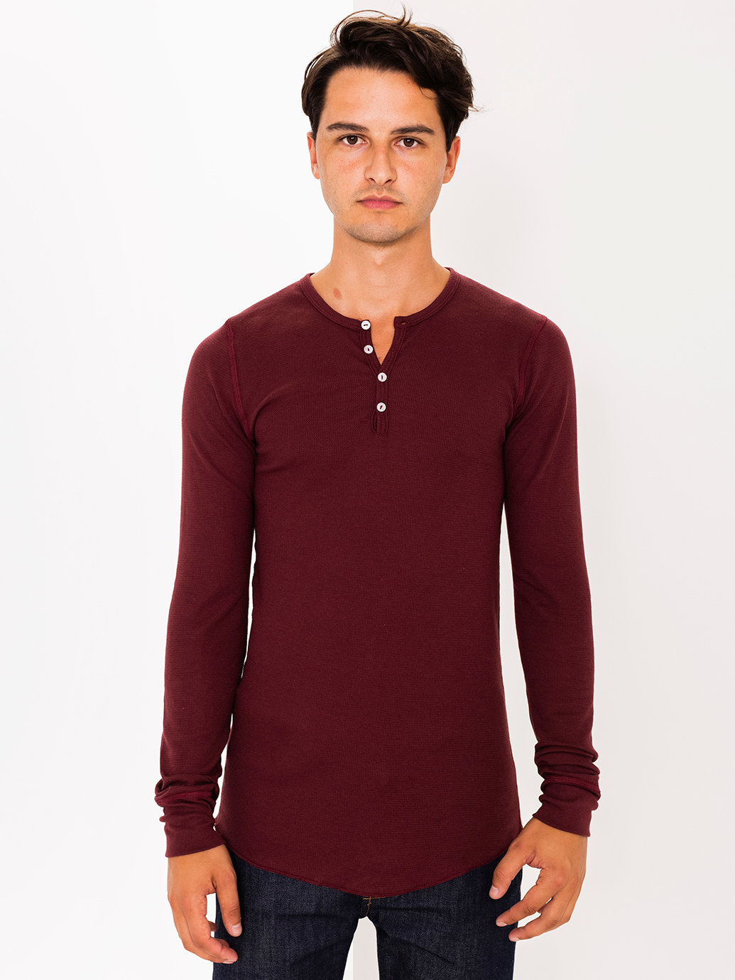 American apparel baby thermal henley long sleeve t shirt for Men s thermal henley long sleeve shirts