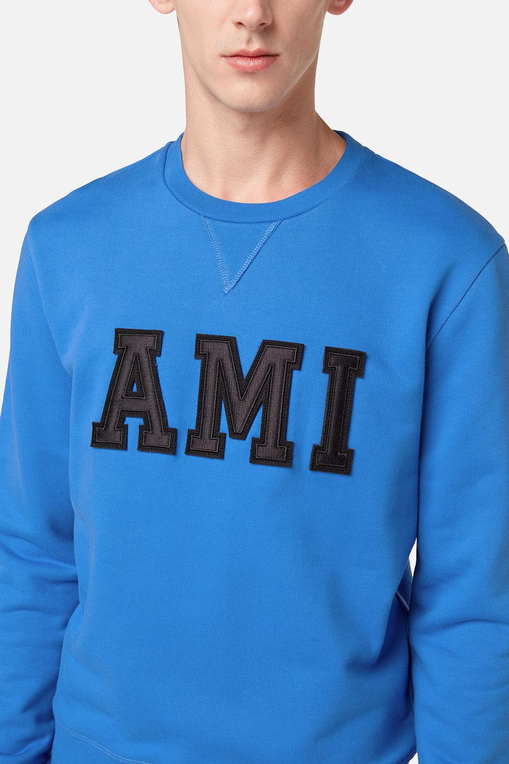 AMI Cotton Sweatshirt Patched Ami Letters in Blue for Men