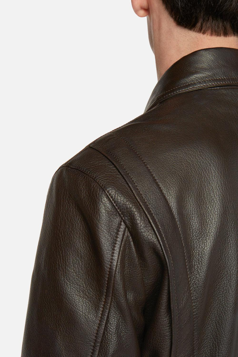 AMI Leather Zipped Jacket Classic Collar for Men
