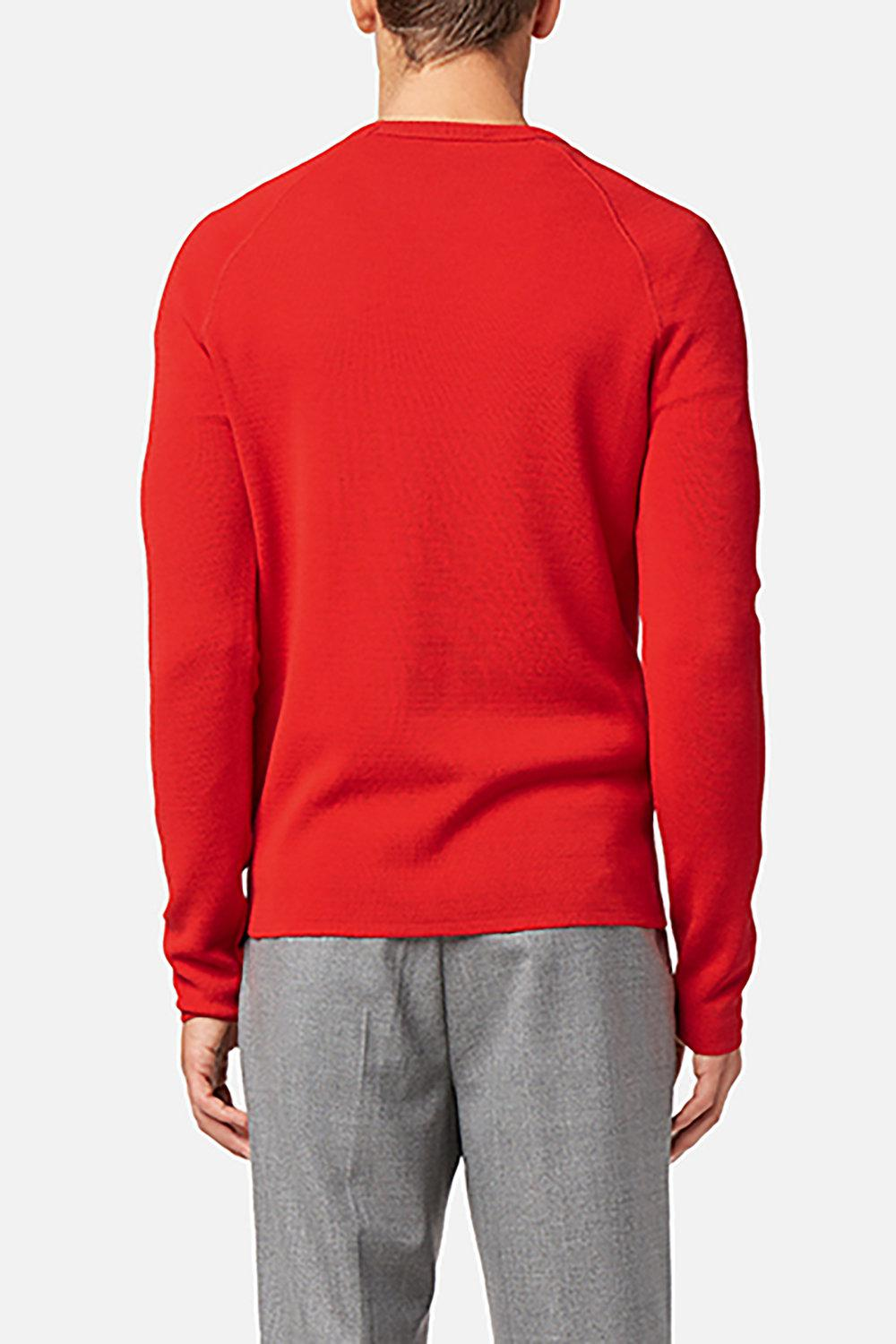 AMI Synthetic Crew Neck Raglan Sleeves Sweater in Red for Men