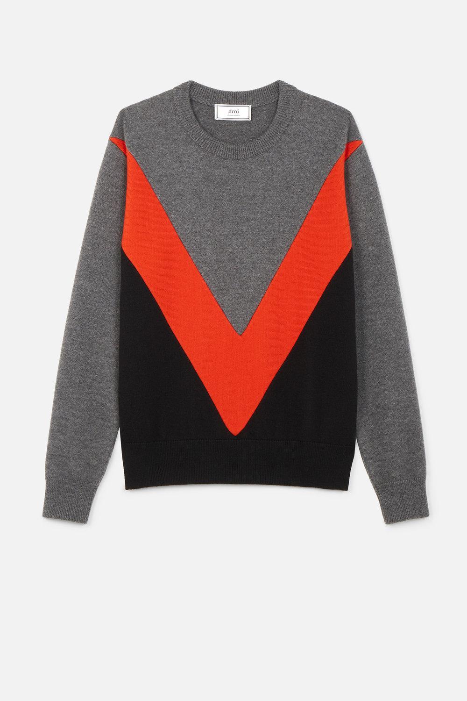 Crew Sweater Tricolor Men's Gray Ami Neck qt1w7UWB6