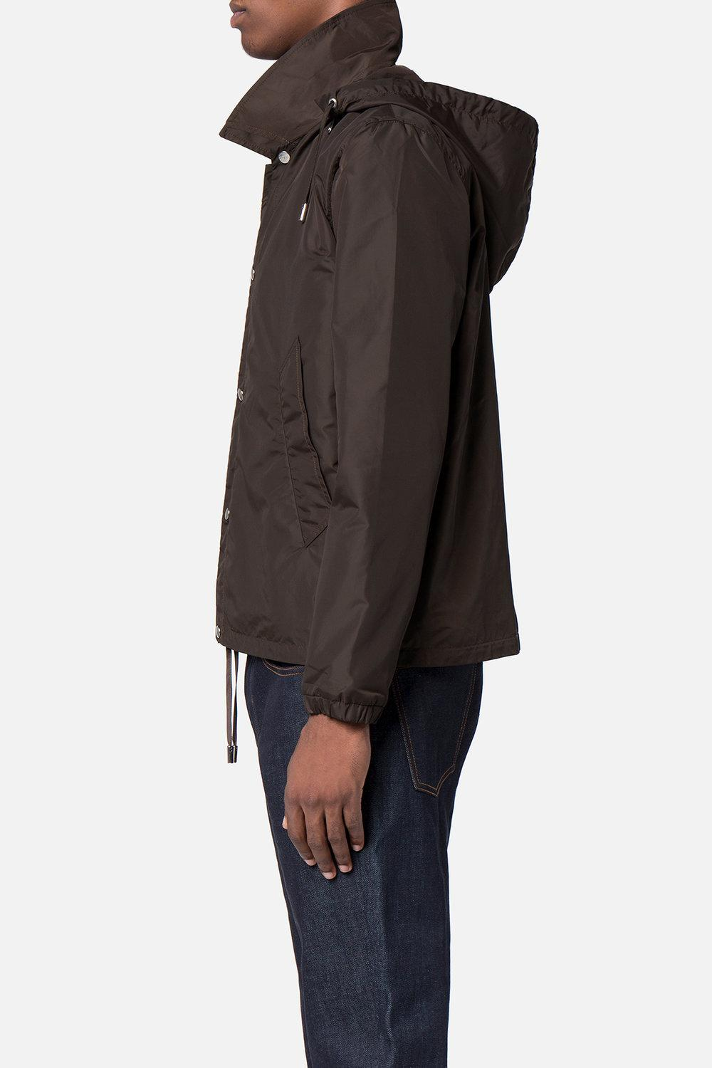 AMI Synthetic Hooded Jacket in Brown for Men