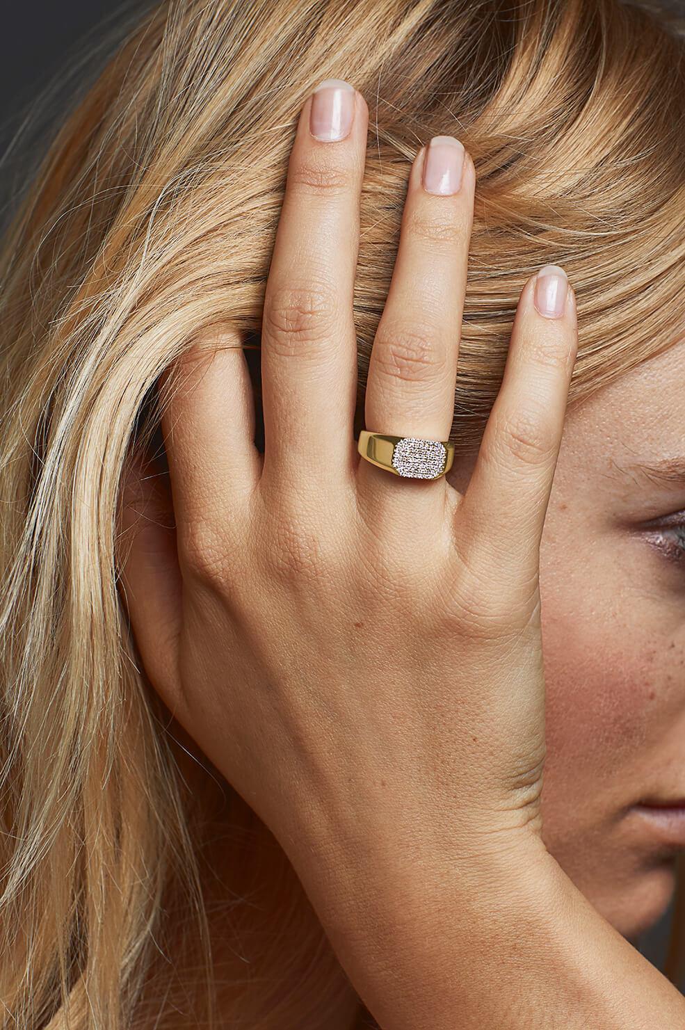 Anine Bing Pave Diamond Ring Lyst